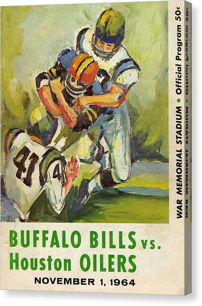 Buffalo Bills Canvas Print - Buffalo Bills Vintage Program by Joe Hamilton