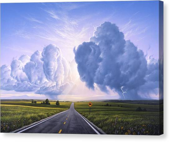 Bison Canvas Print - Buffalo Crossing by Jerry LoFaro