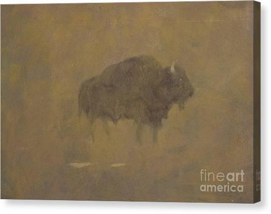 Buffaloes Canvas Print - Buffalo In A Sandstorm by Albert Bierstadt