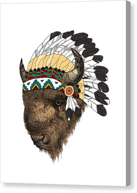 Media Canvas Print - Buffalo With Indian Headdress In Color by Madame Memento