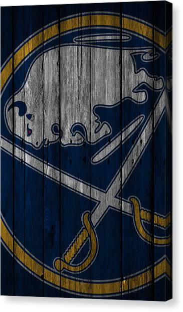 Buffalo Sabres Canvas Print - Buffalo Sabres Wood Fence by Joe Hamilton