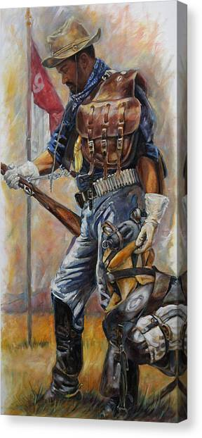 Soldiers Canvas Print - Buffalo Soldier Outfitted by Harvie Brown