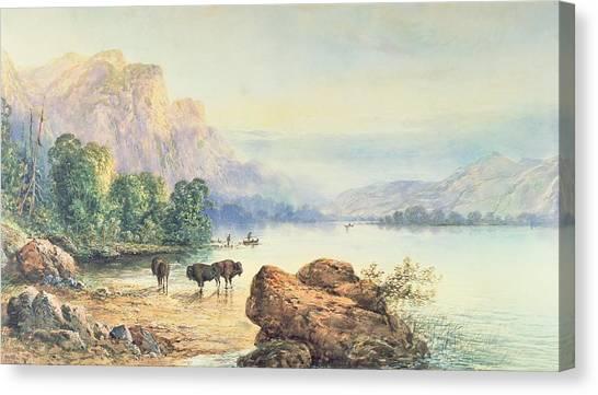 Moran Canvas Print - Buffalo Watering by Thomas Moran