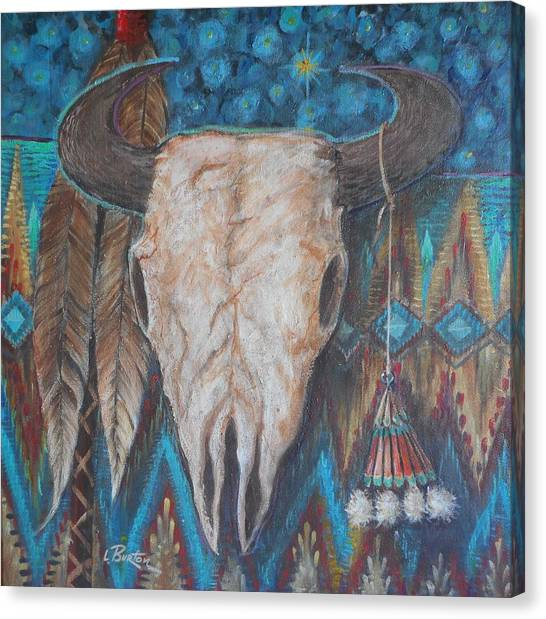 Lynn Burton Canvas Print - Buffalo Skull With Medicine Bag by Lynn Burton