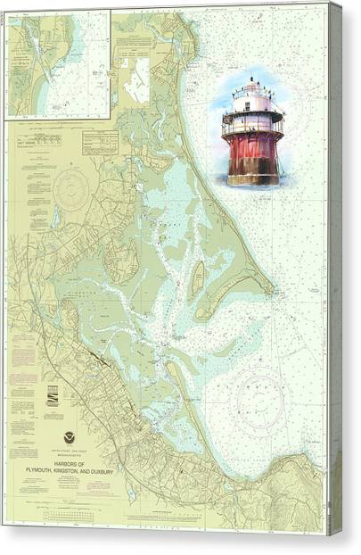Bug Light On A Noaa Chart Canvas Print