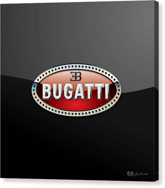 Automobiles Canvas Print - Bugatti - 3 D Badge On Black by Serge Averbukh