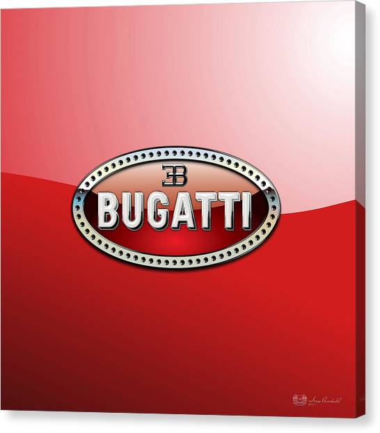 Automobiles Canvas Print - Bugatti - 3 D Badge On Red by Serge Averbukh