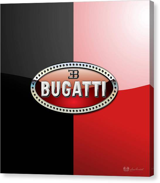 Automobiles Canvas Print - Bugatti 3 D Badge On Red And Black  by Serge Averbukh