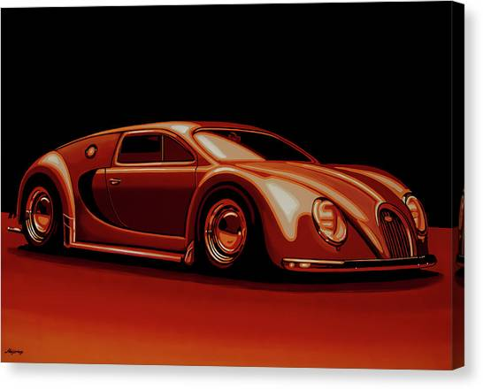 Audi Canvas Print - Bugatti Veyron 'beetgatti' 1945 Painting by Paul Meijering