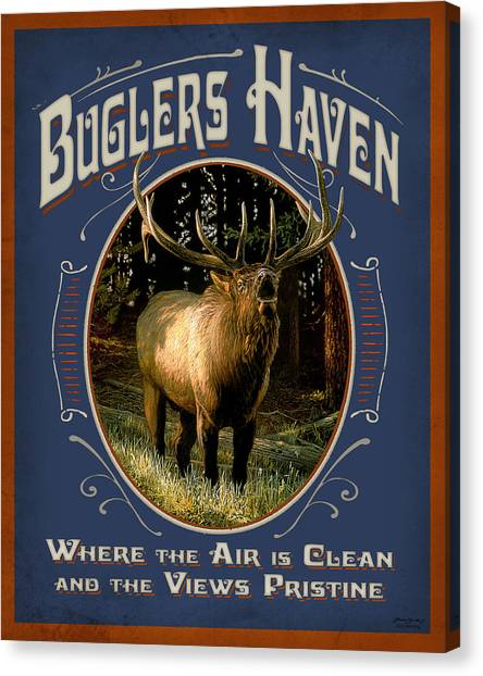 Elk Canvas Print - Buglers Haven Sign by JQ Licensing
