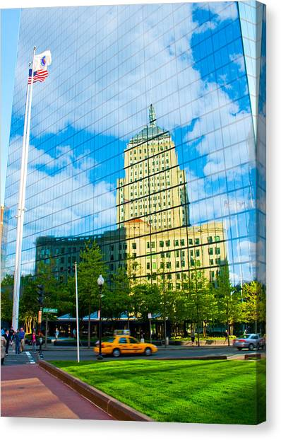 Building In Building Canvas Print by Andrew Kubica
