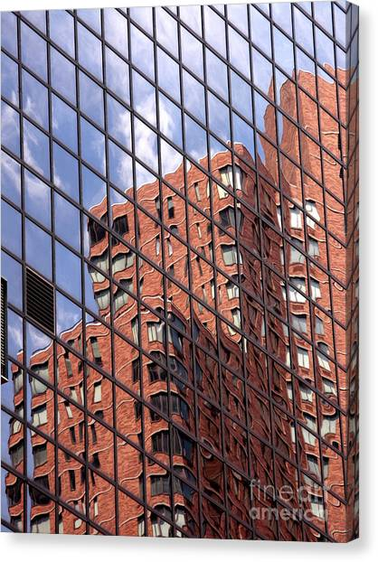 Glass Art Canvas Print - Building Reflection by Tony Cordoza