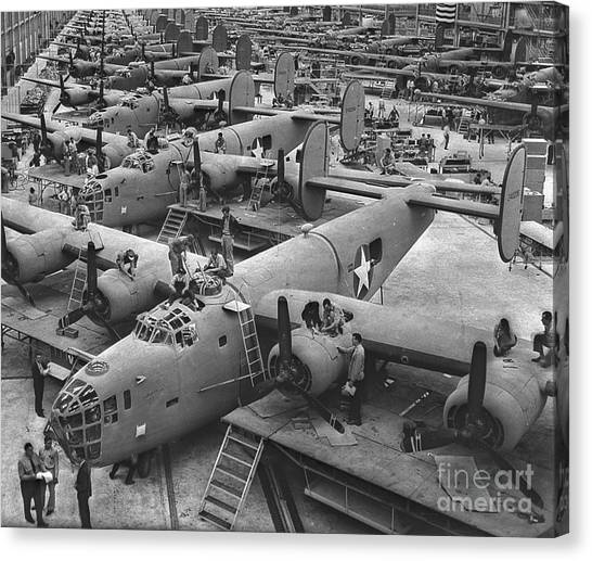 Cockpits Canvas Print - Building The B24 Fleet 1943 Bw by Padre Art