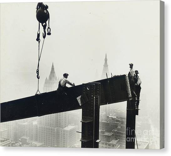 Central Park Canvas Print - Building The Empire State Building by LW Hine