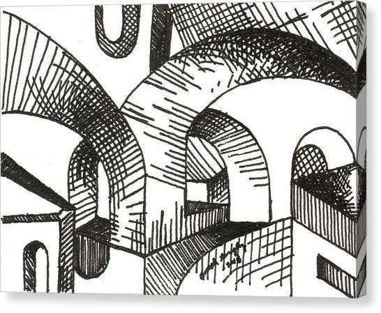 Buildings 1 2015 - Aceo Canvas Print