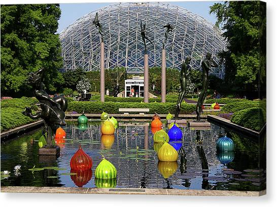 Bulbs On The Pond Canvas Print by George Basden