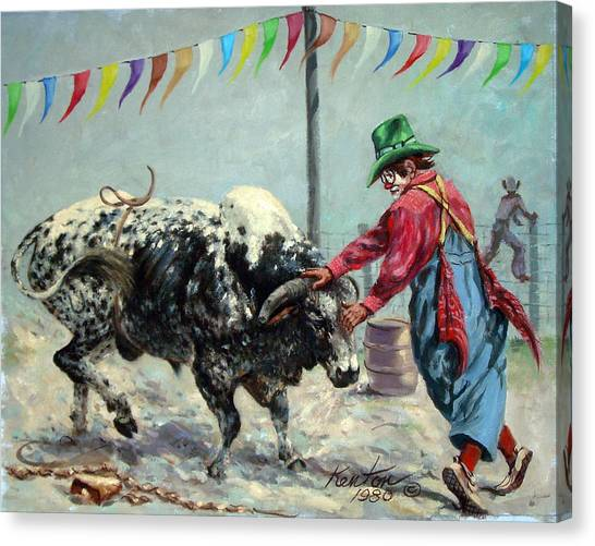 Rodeo Clown Canvas Print - Bull Bait by Buster Kenton