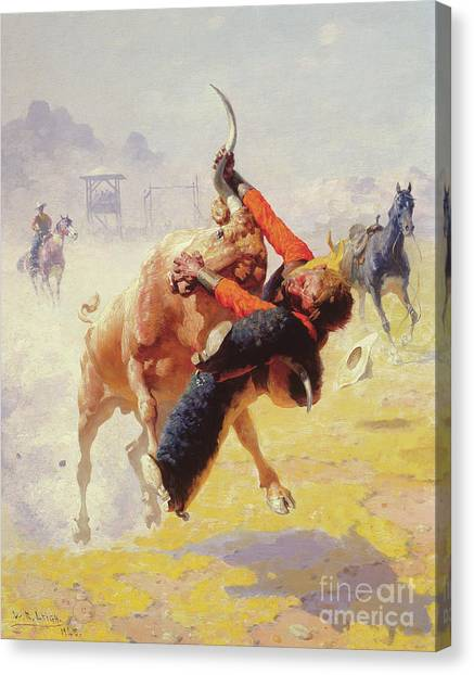 Rodeo Clown Canvas Print - Bull Dodging by William Robinson Leigh