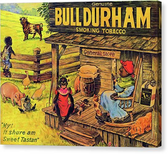 Canvas Print featuring the digital art Bull Durham My It Shure Am Sweet Tastan by ReInVintaged