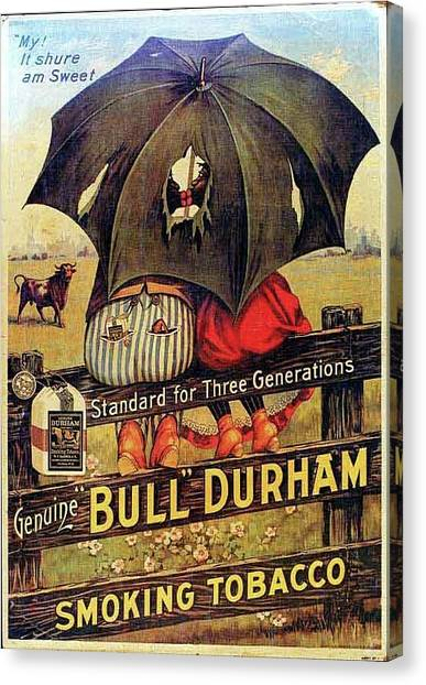 Canvas Print featuring the digital art Bull Durham Smoking Tobacco by ReInVintaged