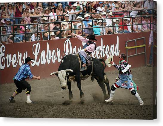 Rodeo Clown Canvas Print - Bull Fighters At Work by Melisa Meyers