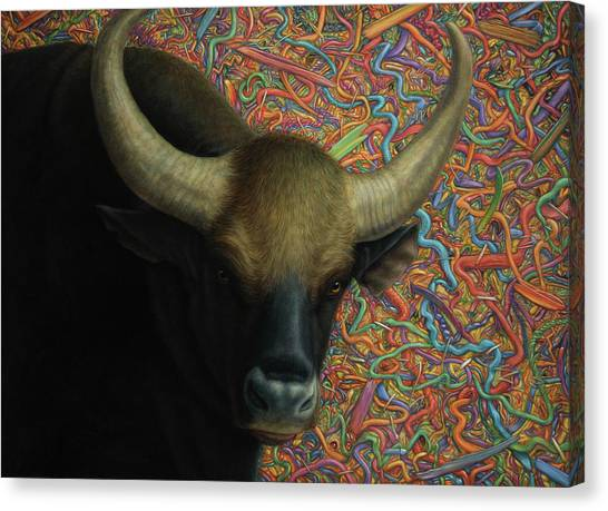 Farm Animals Canvas Print - Bull In A Plastic Shop by James W Johnson