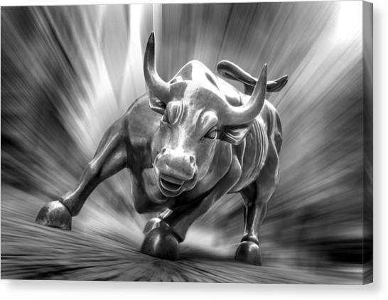 Money Canvas Print - Bull Market by Az Jackson