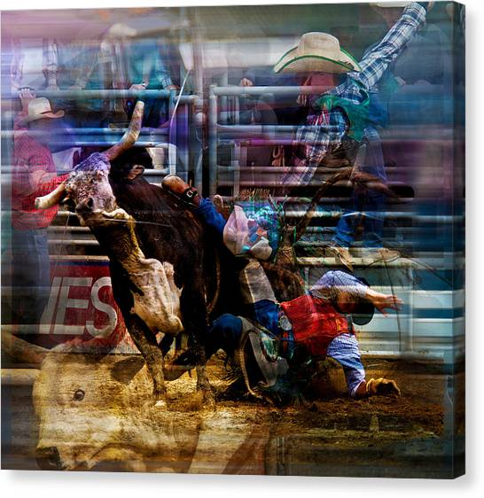 Bull Riding Canvas Print - Bull Rider by Mark Courage