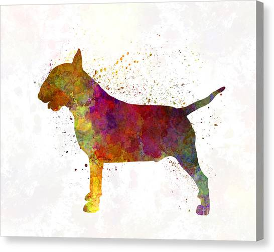 English Bull Dogs Canvas Print - Bull Terrier In Watercolor by Pablo Romero