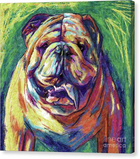 English Bull Dogs Canvas Print - Bulldog Abstract by Julianne Black
