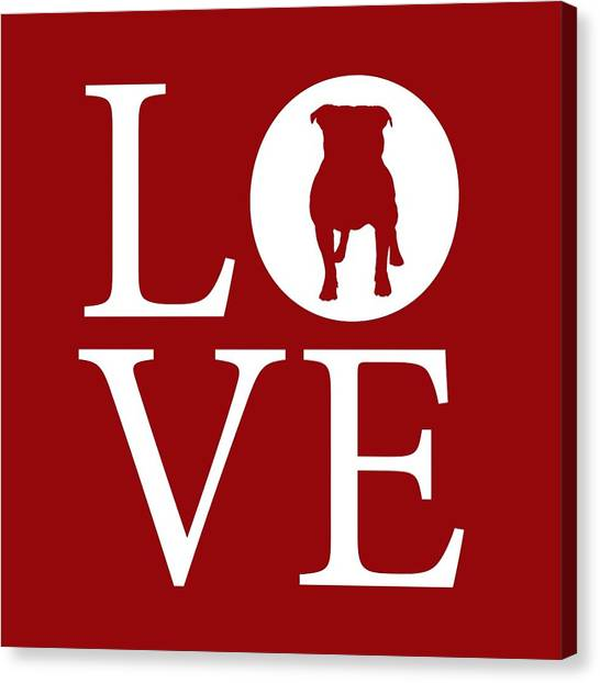 English Bull Dogs Canvas Print - Bulldog Love Red by Nancy Ingersoll