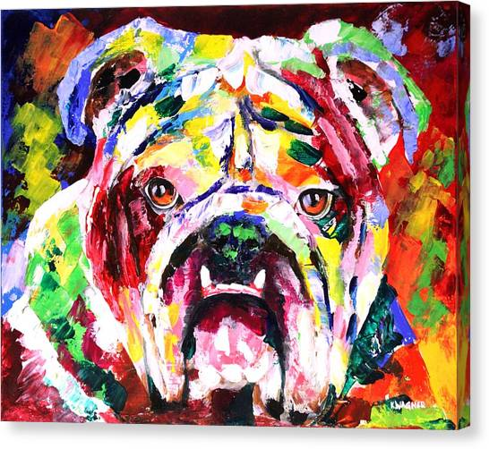 Mississippi State University Canvas Print - Bulldog Multicolors by Karl Wagner