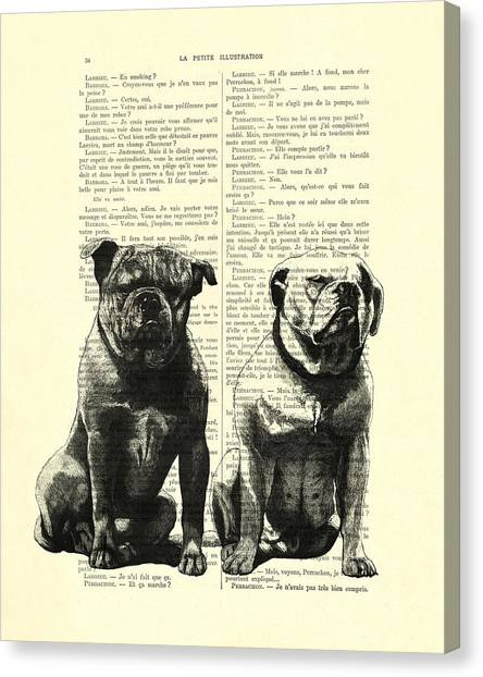 Lovers Canvas Print - Bulldogs, Two Dogs Sitting Black And White Vintage Illustration by Madame Memento