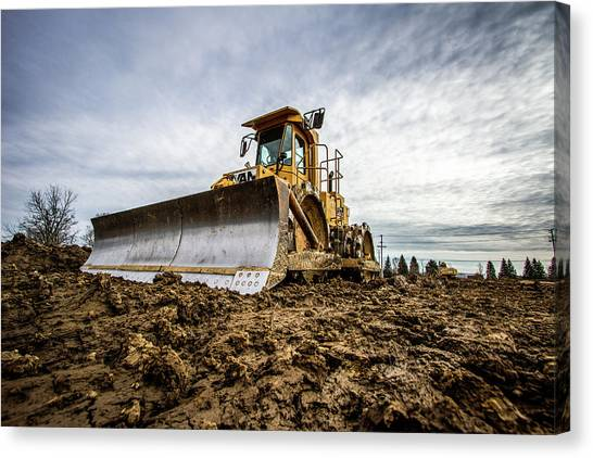 Caterpillers Canvas Print - Bulldozer Cat by Mike Burgquist
