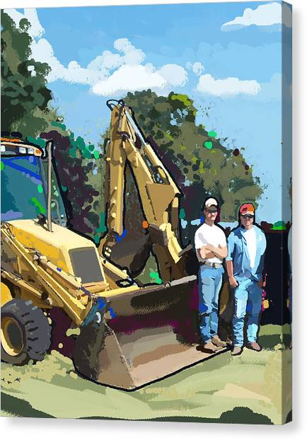 Bulldozers Canvas Print - Bulldozer Guys by Brad Burns