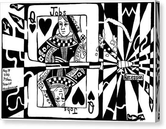 Bullet Thru The Queen Of Hearts...recessions Effect On Jobs By Yonatan Frimer Canvas Print by Yonatan Frimer Maze Artist