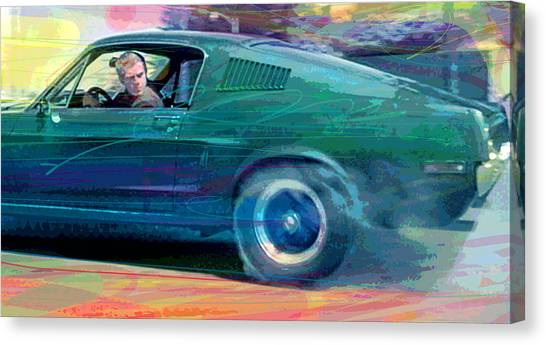 Recommended Canvas Print - Bullitt Mustang by David Lloyd Glover