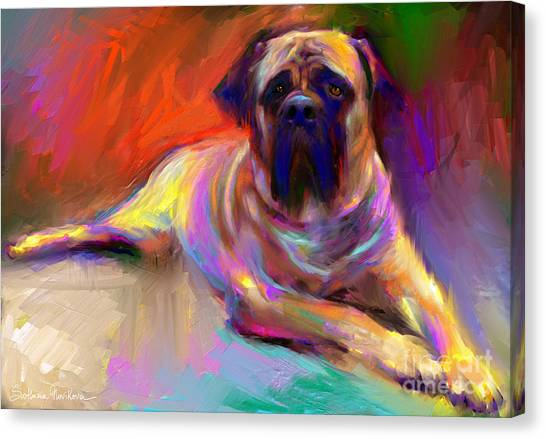 Mastiffs Canvas Print - Bullmastiff Dog Painting by Svetlana Novikova