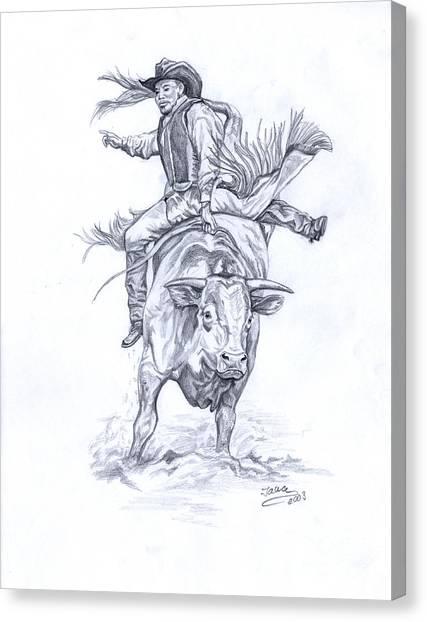 Bull Riding Canvas Print - Bullrider by Jana Goode