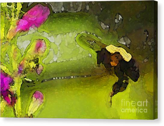 Bumble Bee And Penstemon Over Pond Canvas Print by Annie Johnson