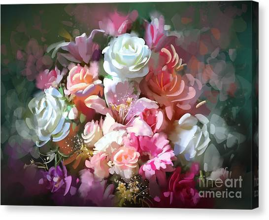 Canvas Print featuring the painting Bunch Of Roses by Tithi Luadthong