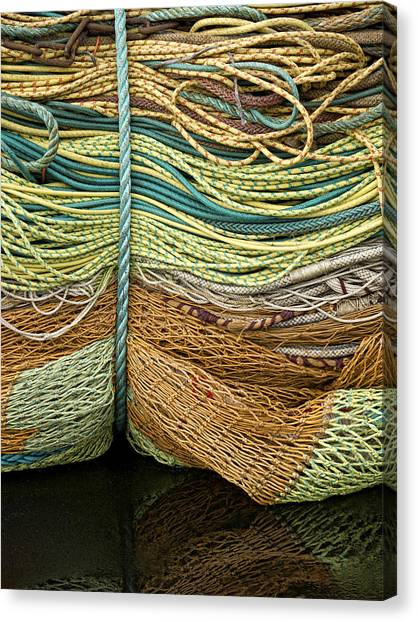 Netting Canvas Print - Bundle Of Fishing Nets And Ropes by Carol Leigh