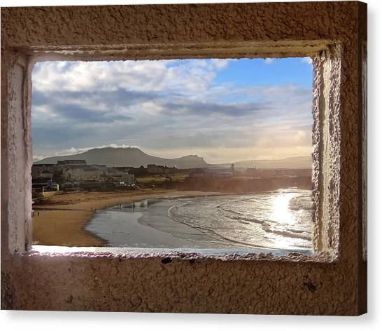 Bundoran And The Dartry Mountains Framed In The Window Of The Rougey Walk Shelter Canvas Print