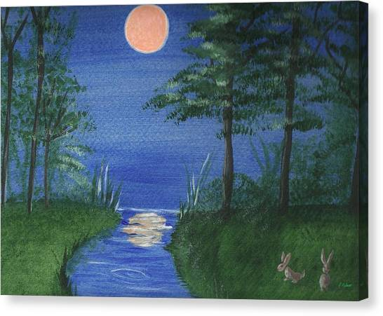 Bunnies In The Garden At Midnight Canvas Print