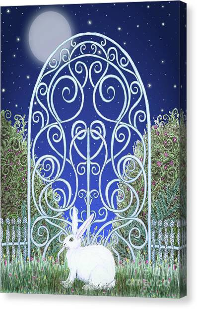 Bunny, Gate And Moon Canvas Print