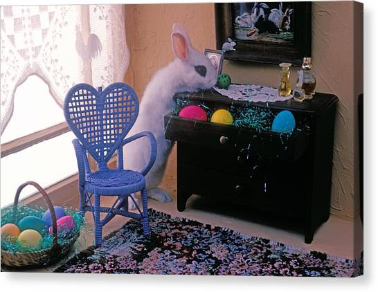 Easter Baskets Canvas Print - Bunny In Small Room by Garry Gay