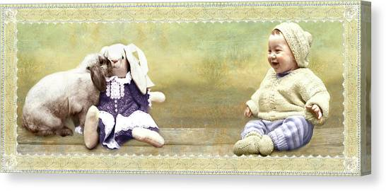 Bunny Kisses Doll Canvas Print