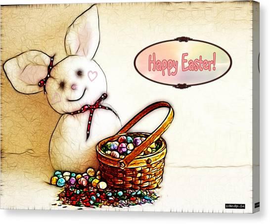 Bunny N Eggs Card Canvas Print