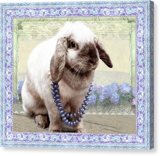 Bunny Wears Beads Canvas Print