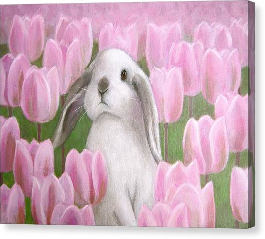 Bunny With Tulips Canvas Print